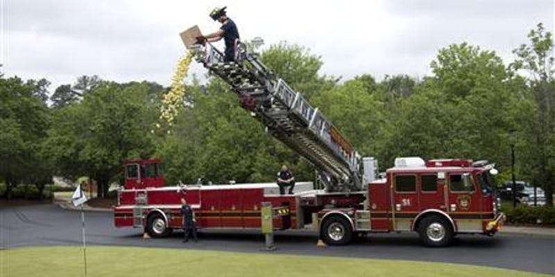 KC PAL PAL 50/50 Golf Ball Drop from KC Fire Ladder Truck